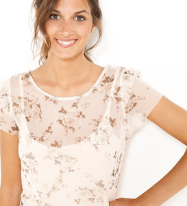 T-shirt transparent volants femme