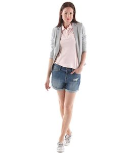 Polo femme maille pointelle