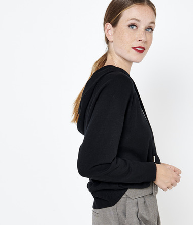 Pull capuche femme