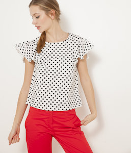 T-shirt cropped volants femme