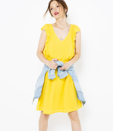 Robe jaune volants