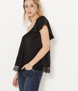 Blouse one shoulder dentelle femme