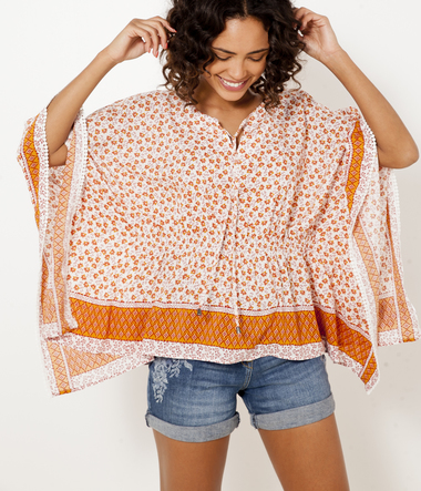 Blouse fleurie femme coupe poncho