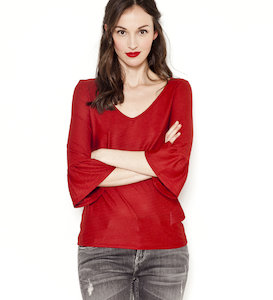 Top femme manches pagodes motif pointelle