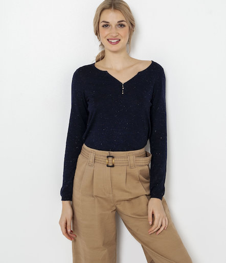 Pull col tunisien boutonné femme