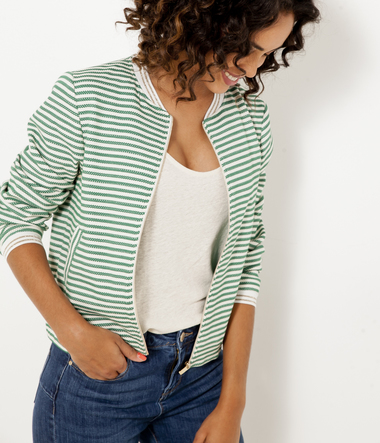 Bomber femme maille rayée