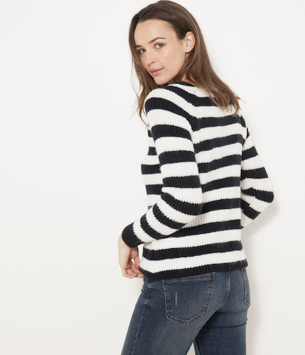Pull rayé boutons épaules femme