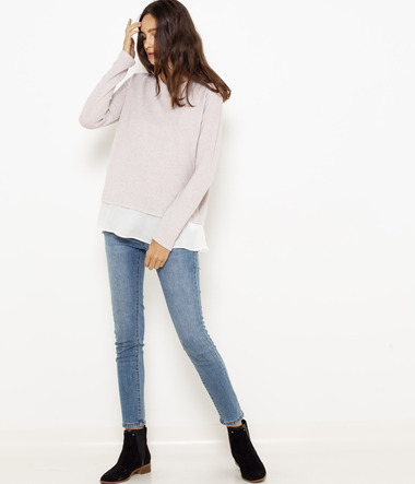Pull fin empiècement voile femme